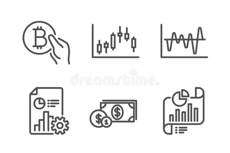 Оплата Bitcoin, диаграмма подсвечника и деньги доллара набор значков Анализ запаса, документ отчета и отчета знаки r иллюстрация вектора