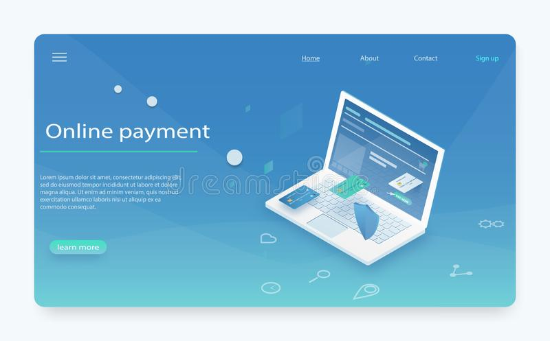 Оплатите историю, защиту данных финансов, ноутбук с кредитной карточкой и защитите равновеликое иллюстрация штока