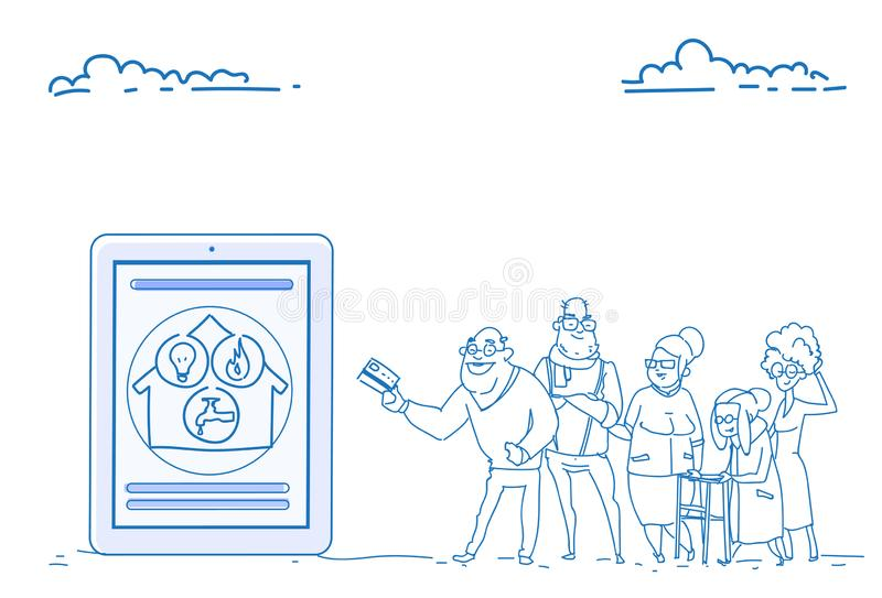 Оплат применения людей группы doodle эскиза концепции оплаты кредитной карточки пенсионеров старших передвижных онлайн общинных с иллюстрация вектора