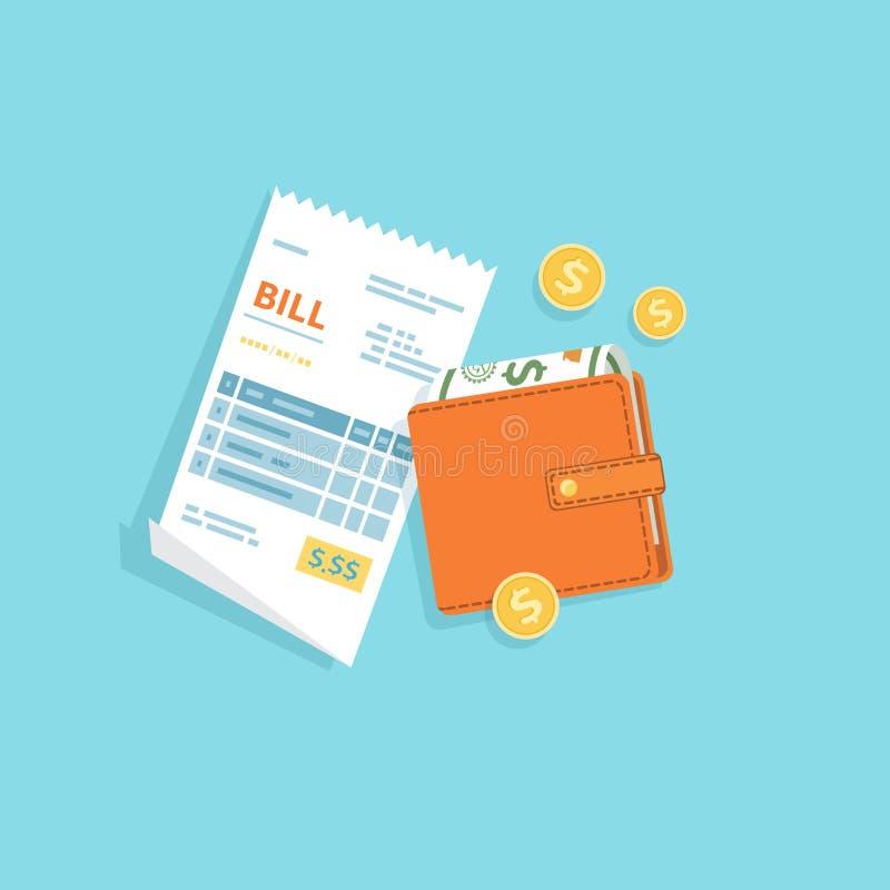 Оплачивать Билла Бумажная проверка, получение, фактура, значок заказа Билл с портмонем, банкнотами денег наличных денег, золотыми иллюстрация штока