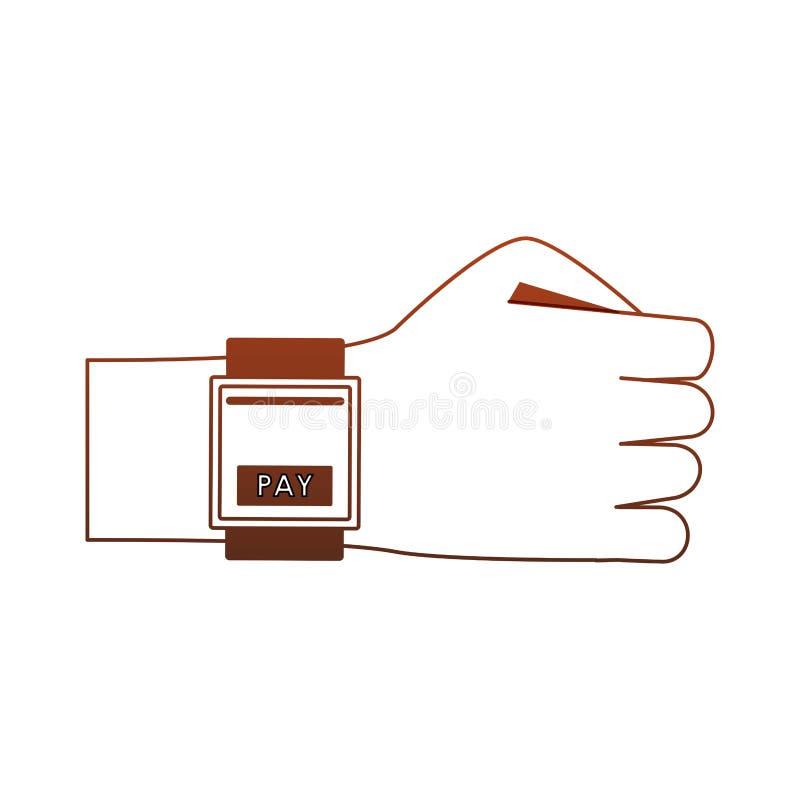 Оплачивать от красных линий мультфильма smartwatch бесплатная иллюстрация