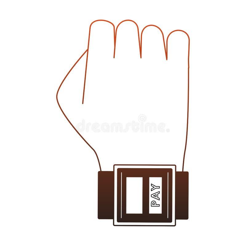 Оплачивать от красных линий мультфильма smartwatch иллюстрация вектора