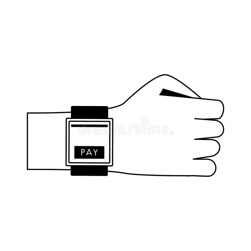 Оплачивать от мультфильма smartwatch в черно-белом иллюстрация штока