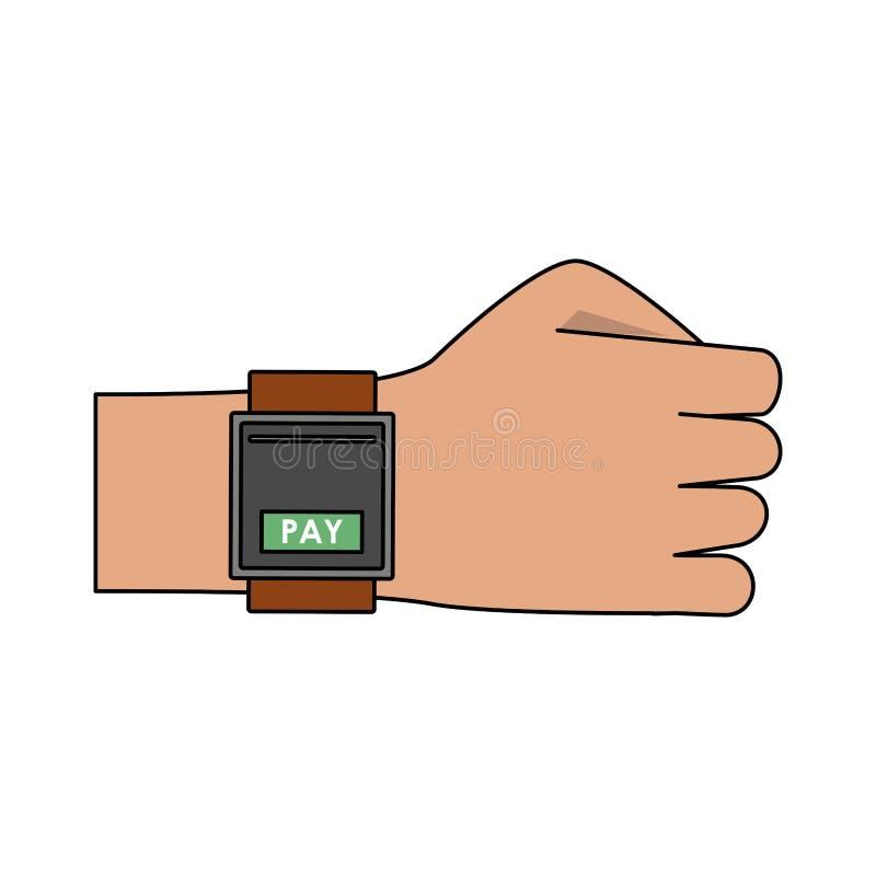 Оплачивать от мультфильма smartwatch иллюстрация вектора