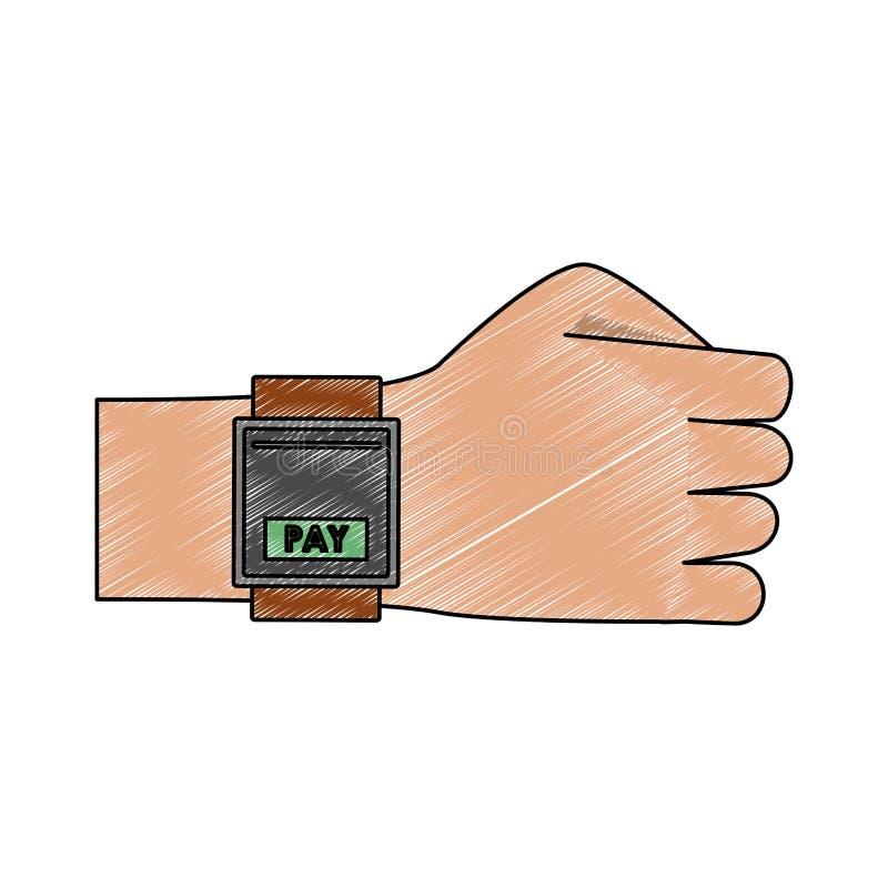 Оплачивать от scribble мультфильма smartwatch иллюстрация штока