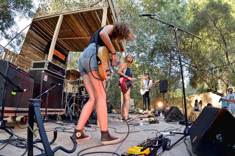 Оплачьте диапазон от Каталонии в концерте на фестивале Vida стоковая фотография