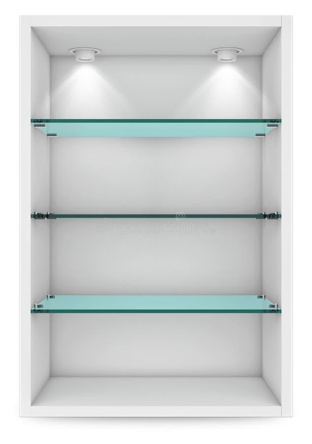 Опорожните белую витрину с стеклянными полками для выставки islolate иллюстрация штока