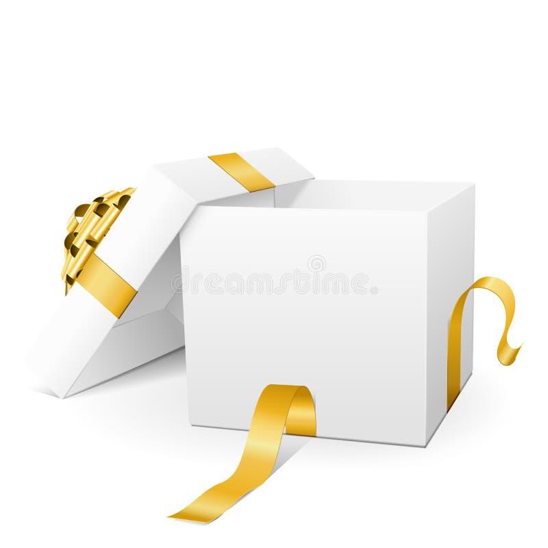 Опорожните белую подарочную коробку вектора 3D с золотой лентой пакета иллюстрация вектора