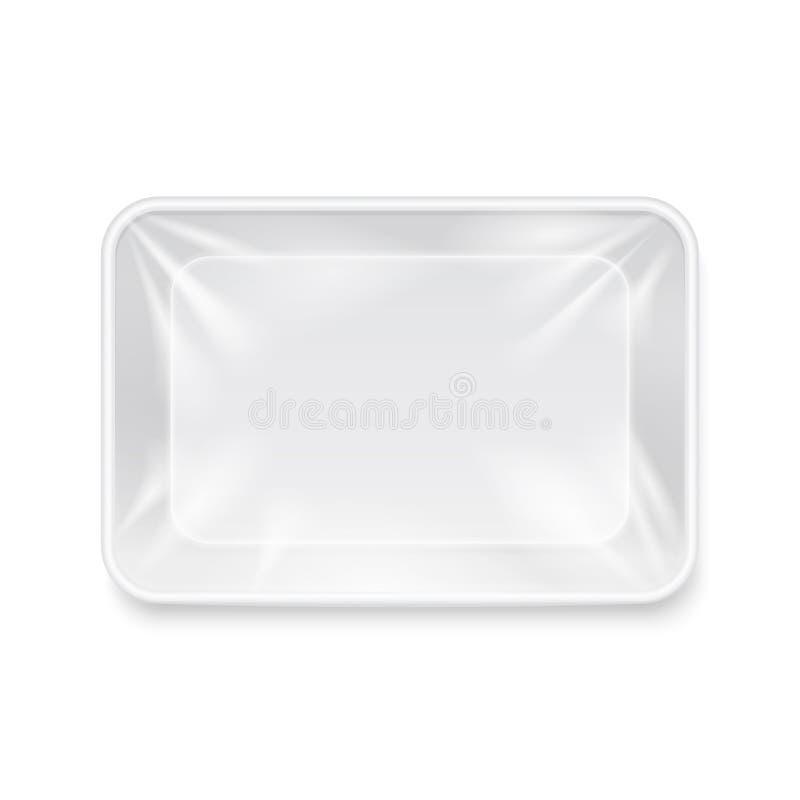 Опорожните белый пластичный пищевой контейнер, упаковывая шаблон вектора подноса иллюстрация вектора