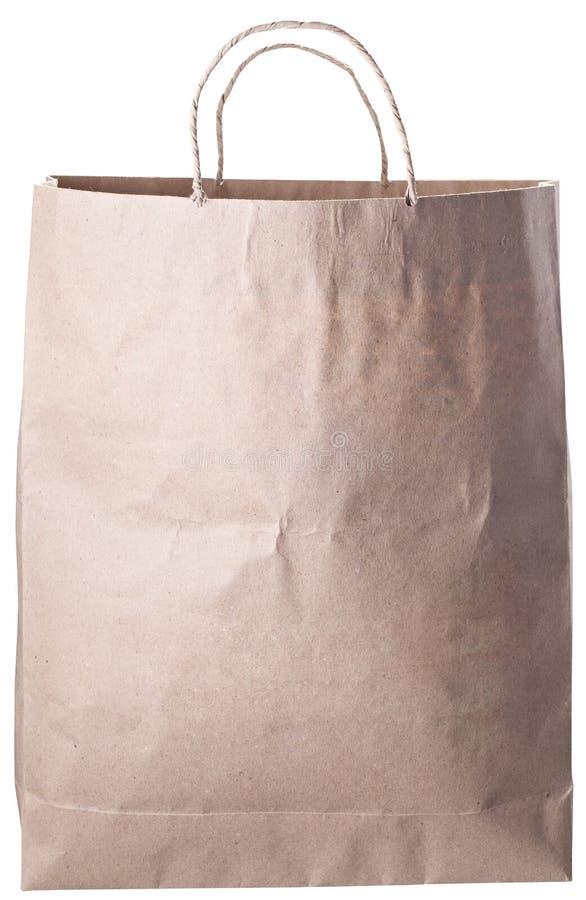 Опорожните бумажную сумку изолированную на белой предпосылке стоковые изображения rf
