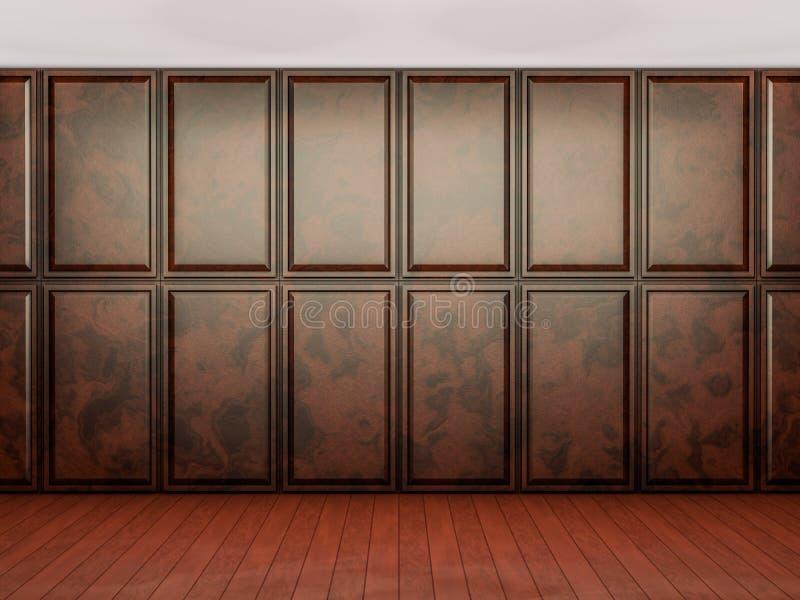 Опорожните внутреннюю предпосылку, комнату с коричневой деревянной стеной paneling иллюстрация вектора