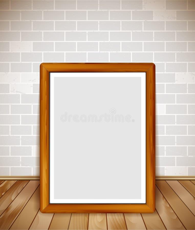 Опорожните деревянную рамку на деревянном поле с предпосылкой кирпичной стены бесплатная иллюстрация