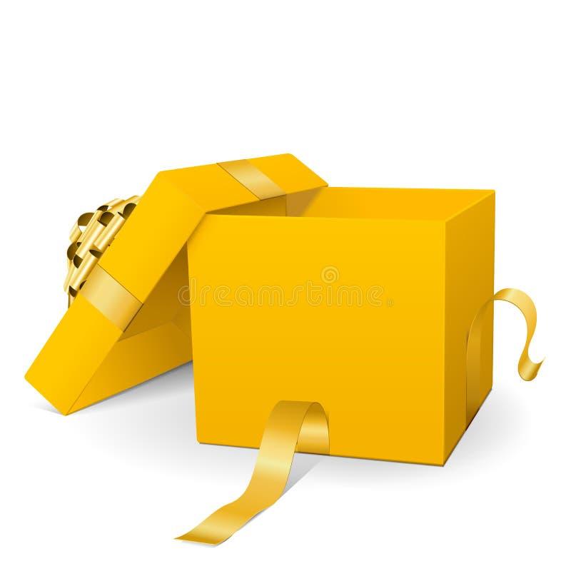 Опорожните желтую подарочную коробку вектора 3D с золотой лентой пакета иллюстрация штока