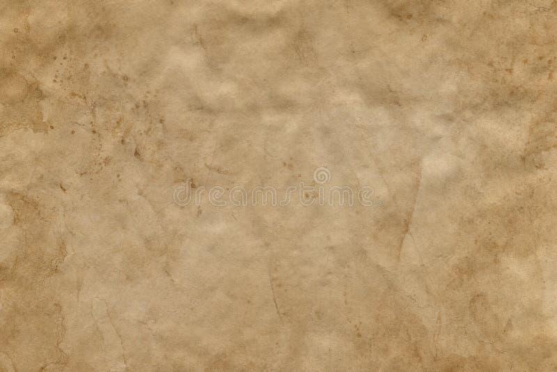 Опорожните запятнанный старый лист коричневой бумаги Справочная информация стоковое изображение