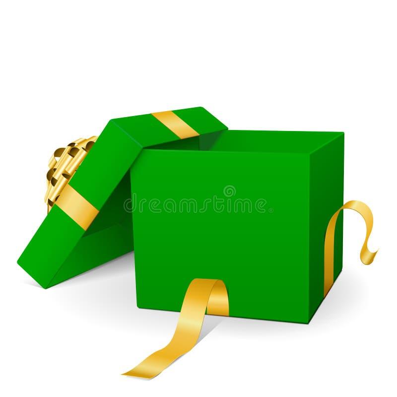 Опорожните зеленую подарочную коробку вектора 3D с золотой лентой пакета бесплатная иллюстрация