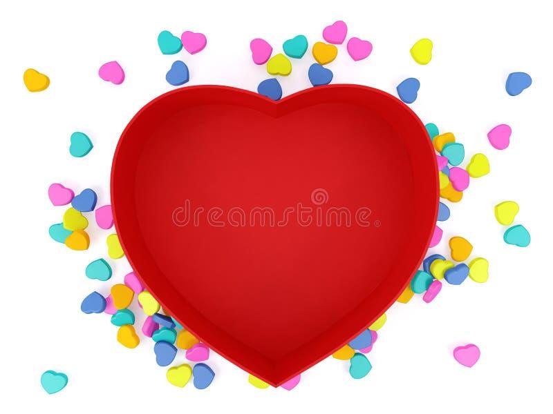 Опорожните красным коробку сформированную сердцем с мини сердцами на белой предпосылке стоковое изображение rf