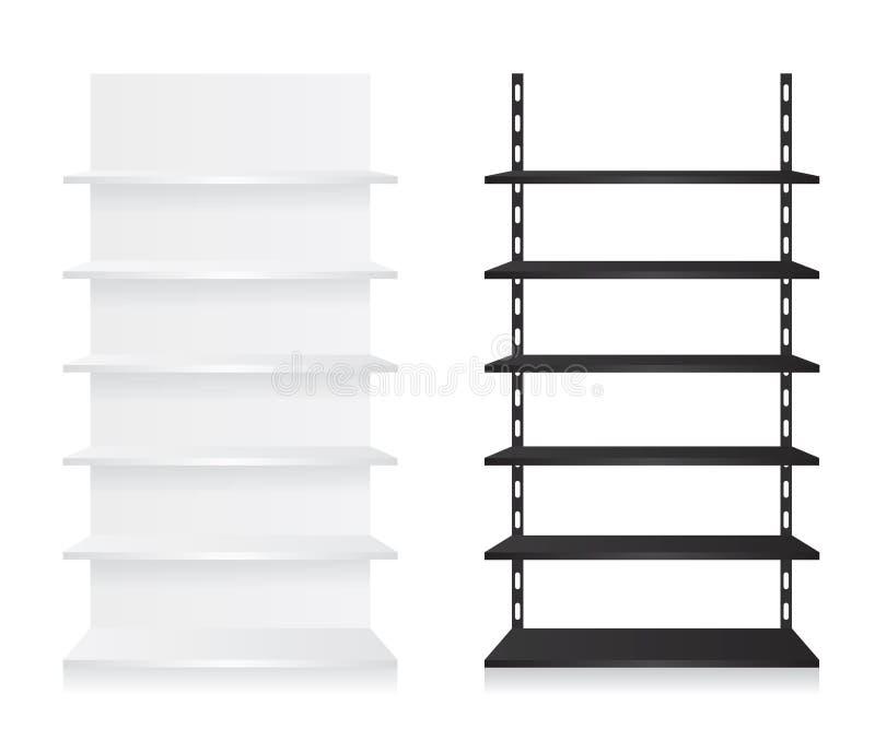 Опорожните полки магазина черно-белые иллюстрация штока