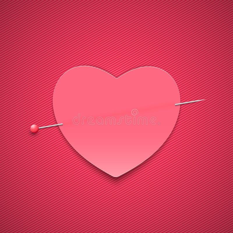 Опорожните романтичное примечание в форме сердца с штырем Валентайн дня счастливое s Розовая предпосылка с картиной линий Примеча иллюстрация штока