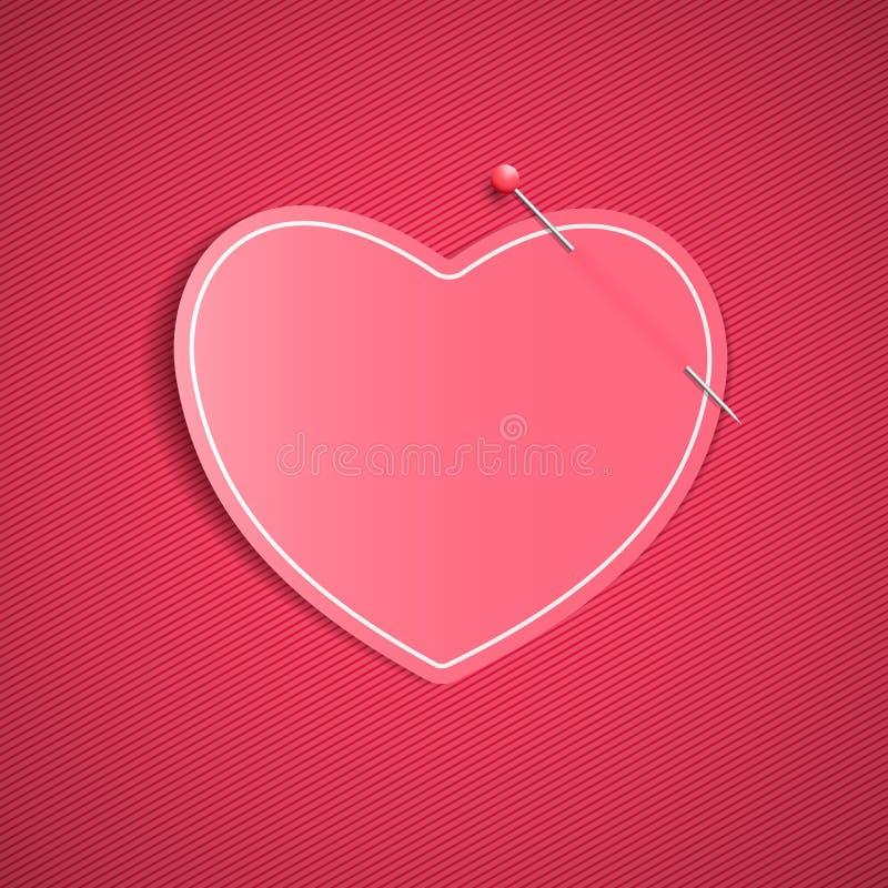 Опорожните романтичное примечание от бумажного сердца с штырем Праздничный графический элемент Валентайн дня счастливое s Розовая иллюстрация вектора