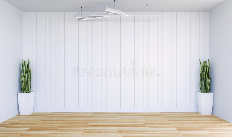 Опорожните современную комнату с белой панелью стены и декоративными заводами стоковое изображение