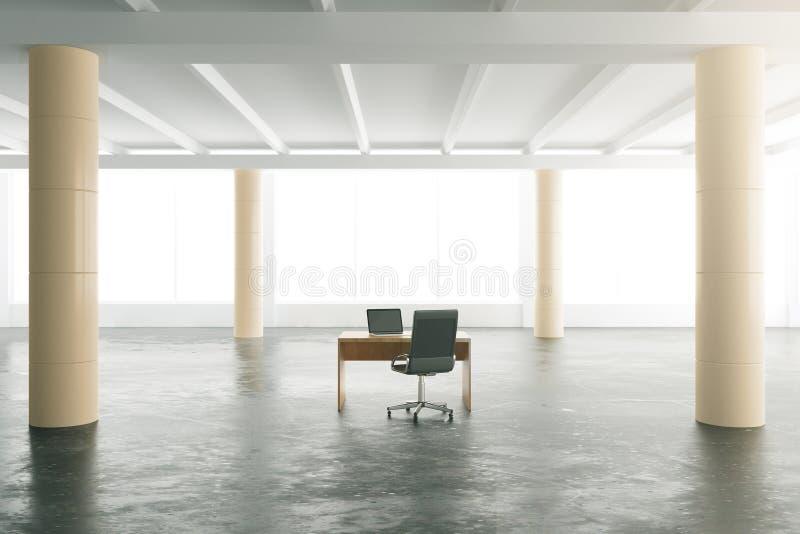 Опорожните современный ангар с конкретным полом и таблицу с стульями иллюстрация вектора