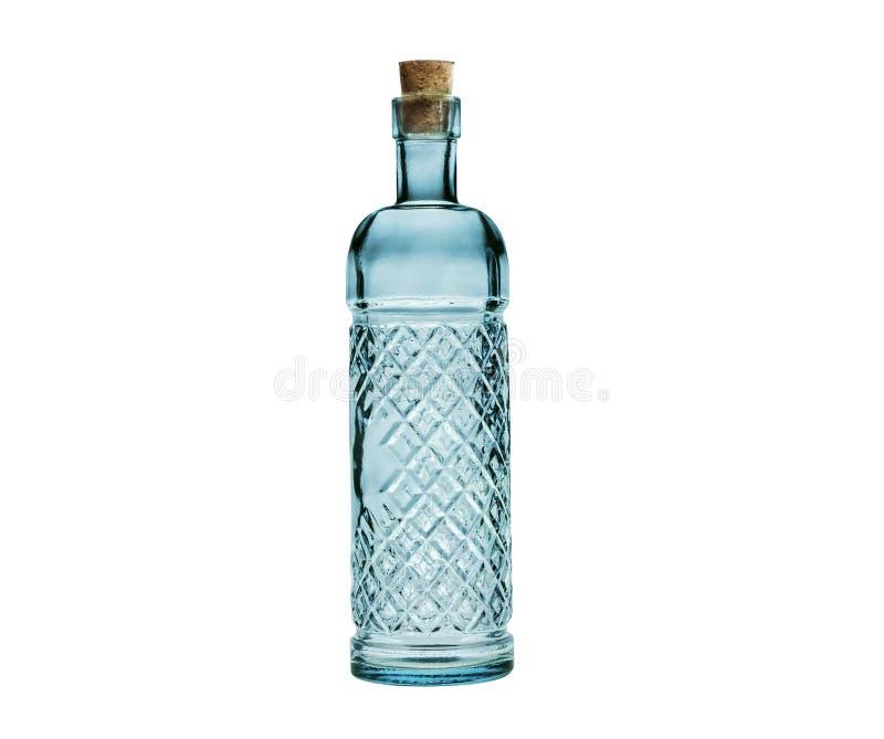 Опорожните стеклянную бутылку при затвор пробочки изолированный на белизне. стоковая фотография rf