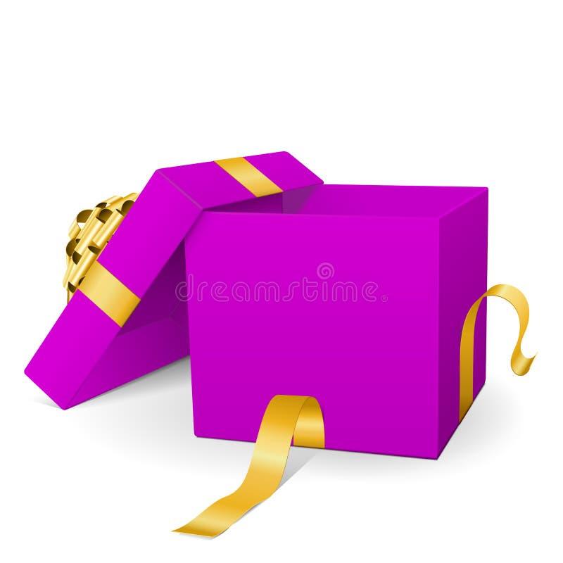 Опорожните фиолетовую подарочную коробку вектора 3D с золотой лентой пакета иллюстрация штока