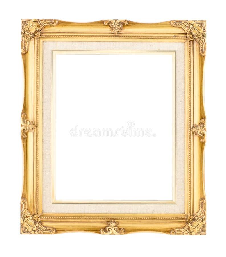 Опорожните ярким древесину позолоченную золотом с рамкой внутреннего холста винтажной дальше стоковое фото