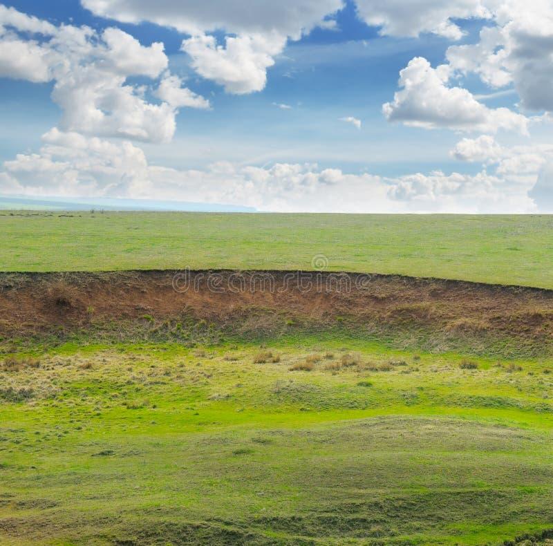 Оползень и эрозия почвы на полях стоковые изображения rf