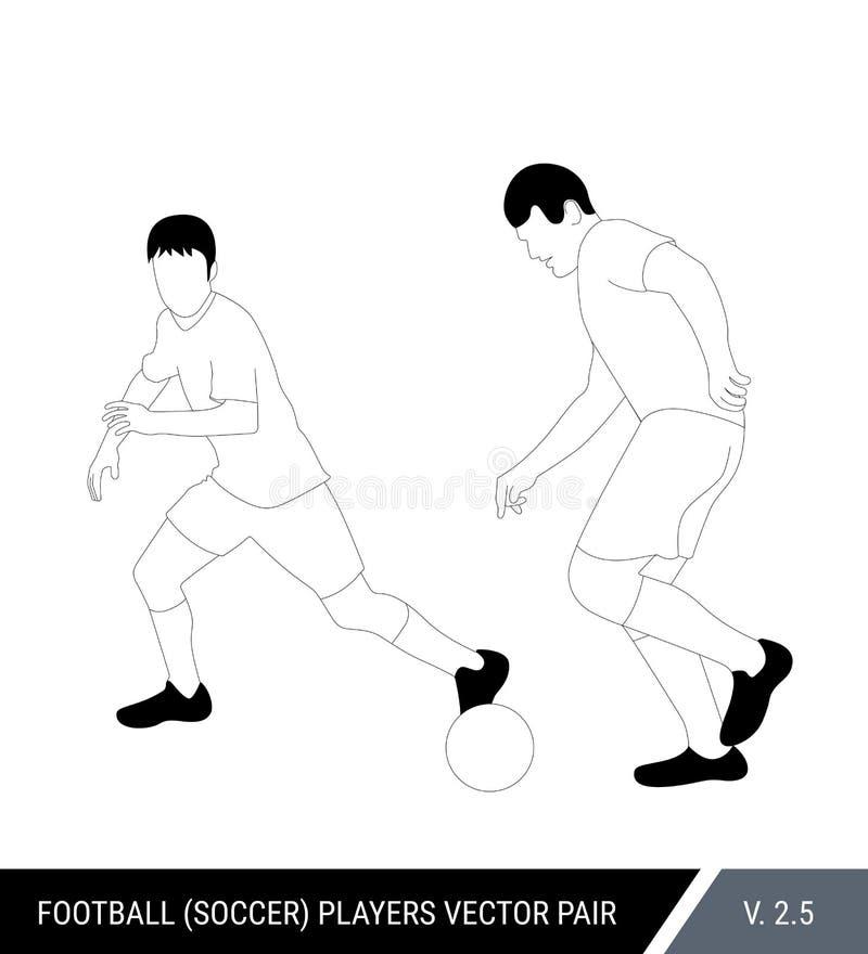 2 оппонента футбола от различных команд воюют для шарика Футболисты, защитник и бой атакующего для иллюстрация вектора