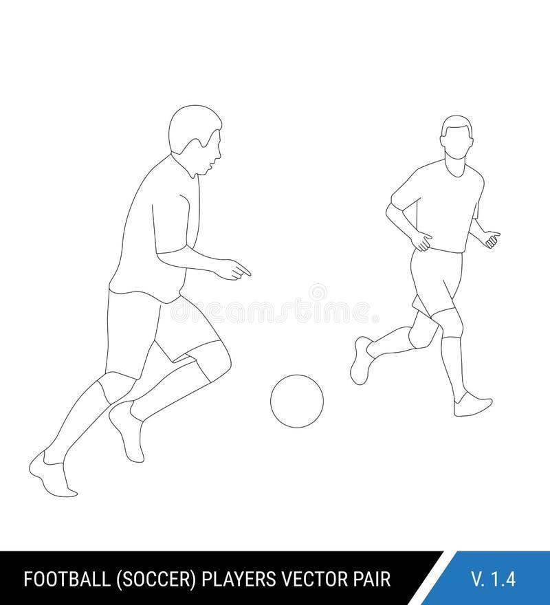 2 оппонента футбола от различных команд воюют для шарика Футболисты, защитник и бой атакующего для бесплатная иллюстрация
