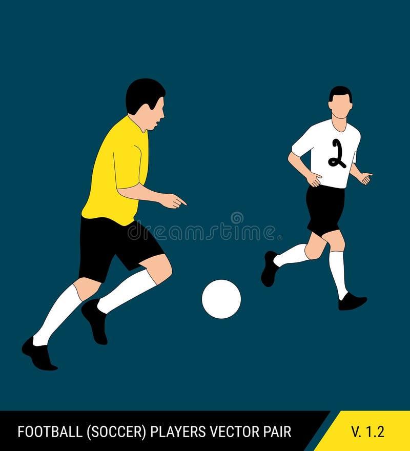 2 оппонента футбола от различных команд воюют для шарика Футболисты, защитник и бой атакующего для иллюстрация штока
