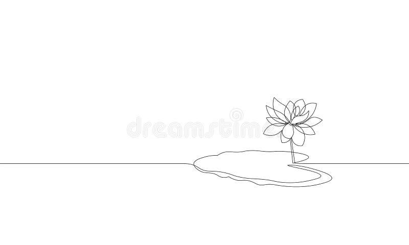 Определите непрерывную линию силуэт лист цветка лотоса искусства Концепция красоты жизни экологичности водоросли природы флористи иллюстрация штока