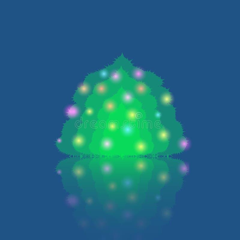 Определите загоренную рождественскую елку иллюстрация вектора