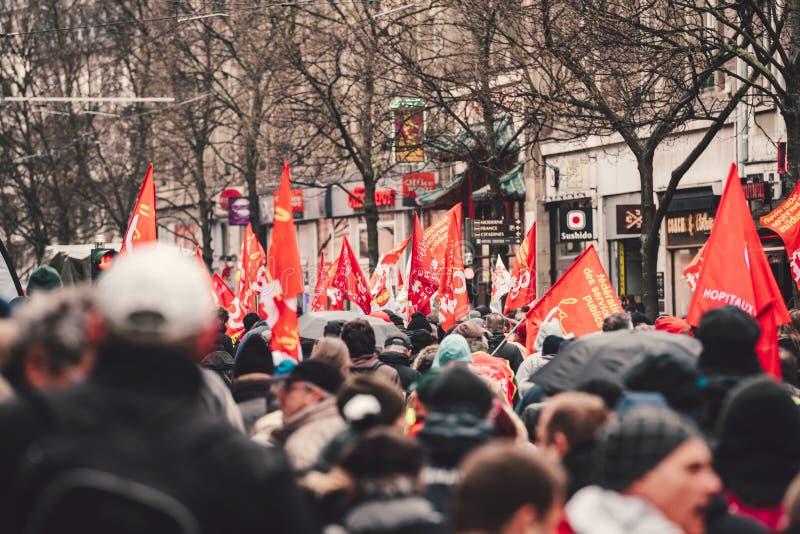 Опротестуйте против строки правительства Macron французской реформ красного f стоковое фото rf