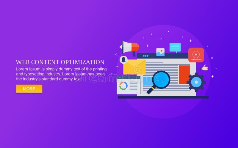 Оптимизирование веб-содержимого, поиск вебсайта, seo для веб-содержимого, аналитика вебсайта, цифрового маркетинга иллюстрация штока