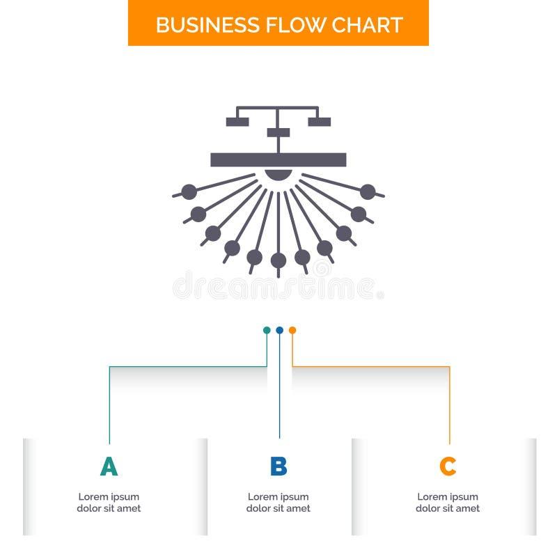 оптимизирование, место, место, структура, дизайн графика течения дела сети с 3 шагами r бесплатная иллюстрация