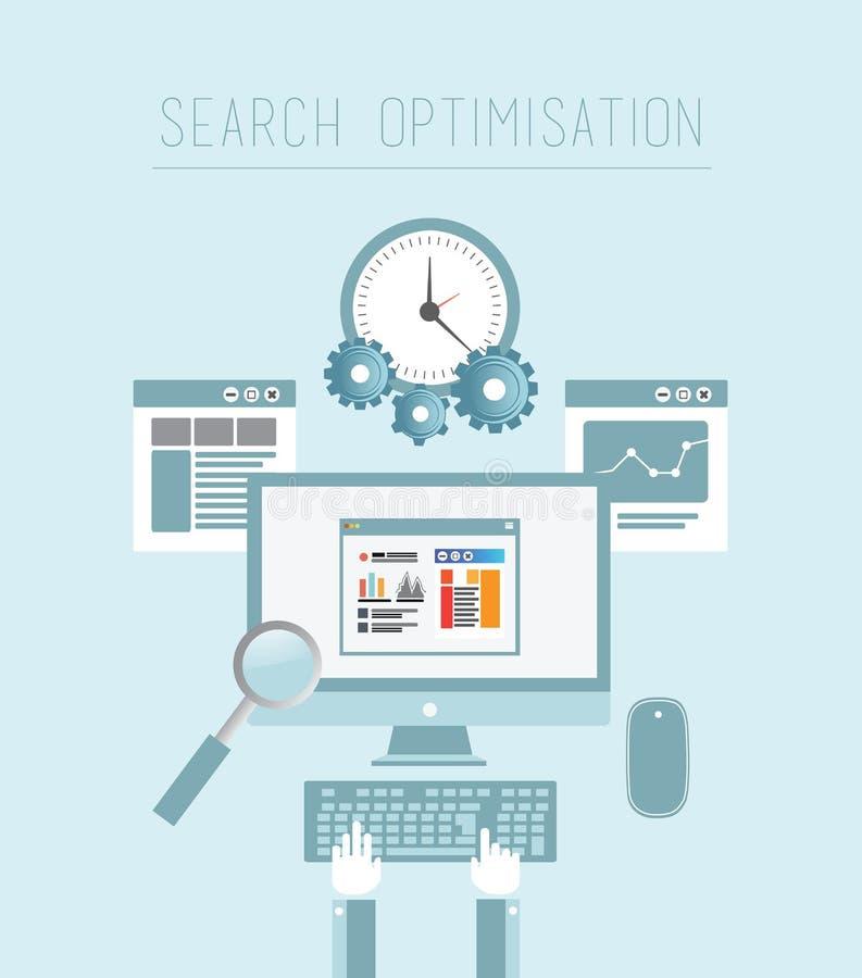 Оптимизирование поисковой системы в сини иллюстрация вектора