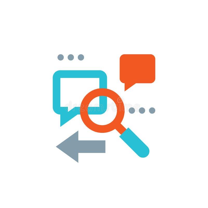 Оптимизирование поисковой системы - иллюстрация вектора концепции Увеличитель, сообщение пузырей речи, стрелка Аналитический знач бесплатная иллюстрация