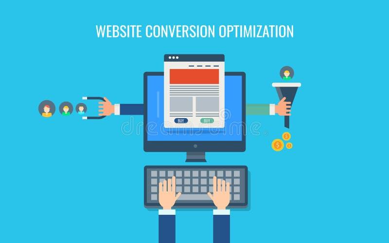 Оптимизирование преобразования вебсайта, прибывающая маркетинговая стратегия, воронка продаж, деньги, продвижение содержания Плос иллюстрация штока
