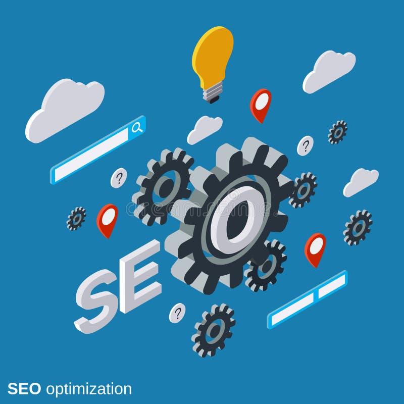 Оптимизирование SEO, обработка информации, концепция вектора поиска сети иллюстрация вектора