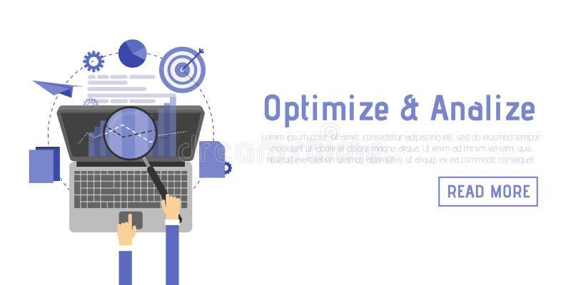Оптимизирование SEO, программируя процесс и элементы аналитика сети в плоском дизайне иллюстрация штока