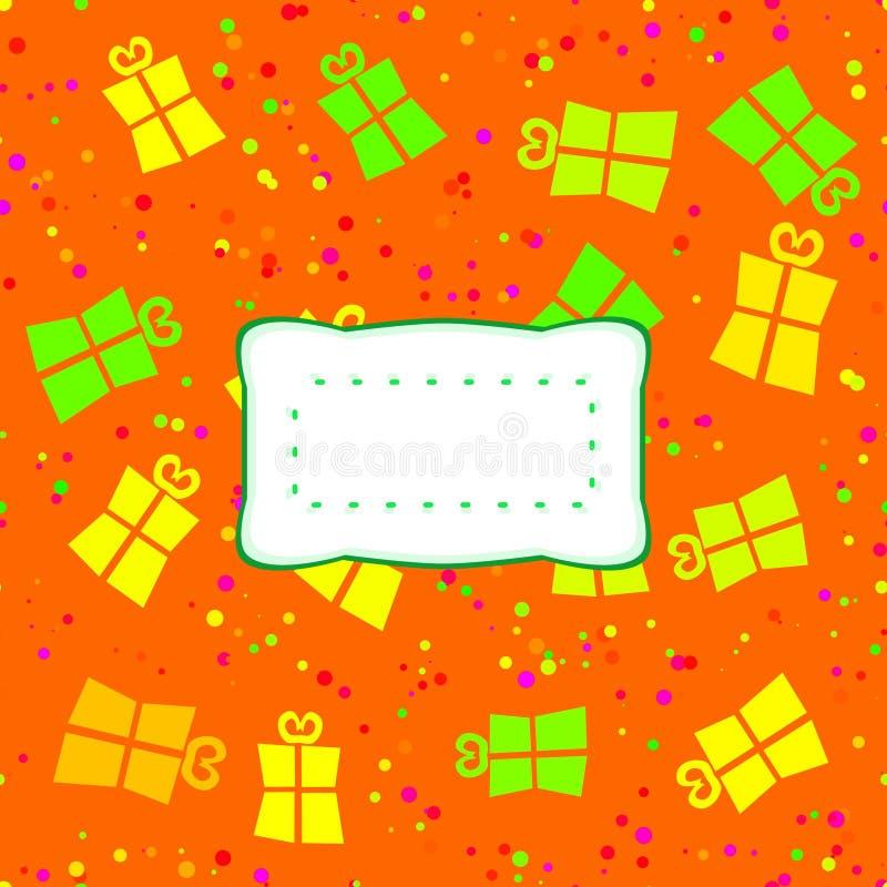 Оптимистическая картина желтого зеленого цвета оранжевого красного цвета с стилизованными подарками бесплатная иллюстрация