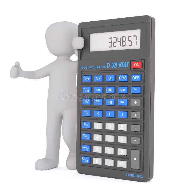 Оптимистический человек с концепцией калькулятора иллюстрация вектора