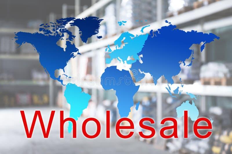 Оптовая торговля Мировая карта и вид склада на фоне стоковое фото