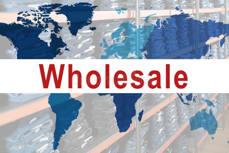 Оптовая торговля Мировая карта и вид склада с стильными джинсами стоковые фото