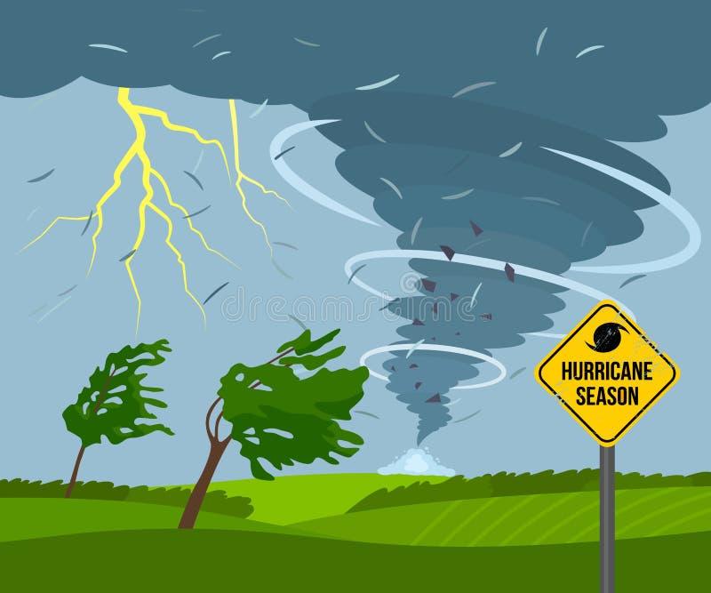 Опустошительный торнадо в сельской местности ломает деревья ландшафт плохой погоды и дорожный знак бедствия и предупреждения иллюстрация вектора