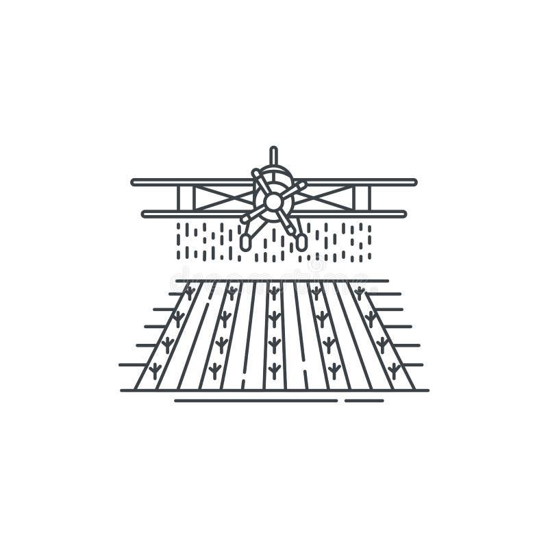 Опылитель полей фермы над значком силовой линии поля Конспектируйте иллюстрацию дизайна плоского вектора линейного изолированную  иллюстрация штока