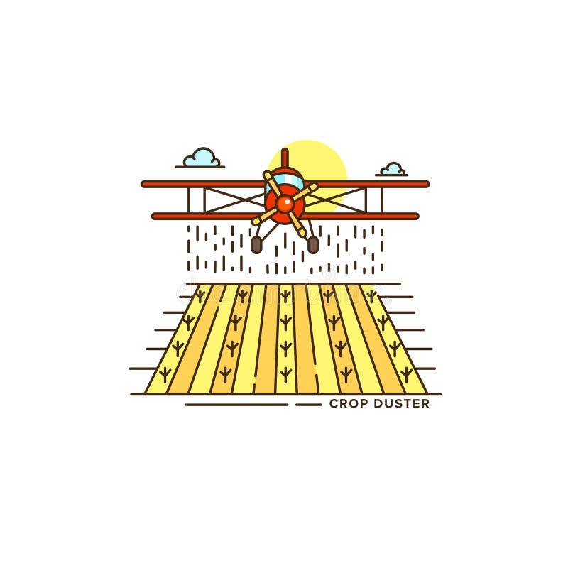 Опылитель полей фермы над значком силовой линии поля Красочная плоская иллюстрация дизайна плоского вектора изолированная на бели иллюстрация вектора
