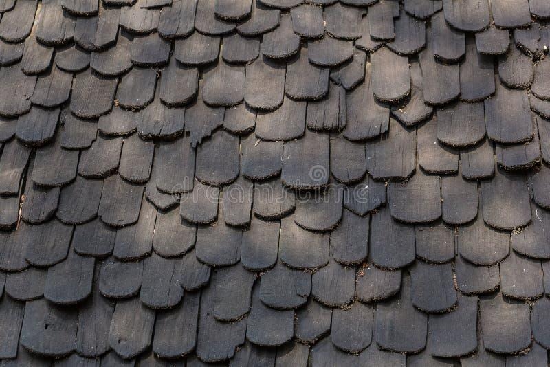 Опытный человек - сделанная крыша сделанная от черной древесины, деревянная крыша крыша кедра стоковое фото rf
